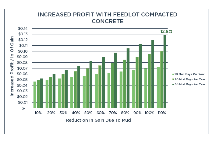 increased gains of cattle with feedlot compacted concrete in mud